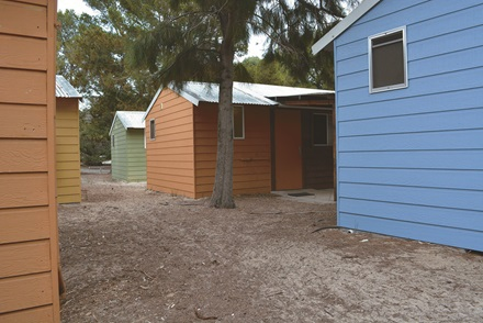 Caroline Thomson cabins coloured cabins