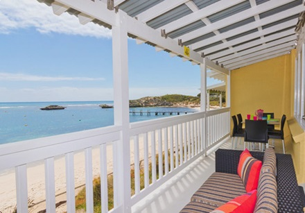 Ocean View accommodation balcony overlooking bay