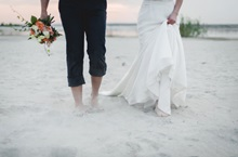 Wedding at Discover Rottnest on Pinky's beach hand in hand