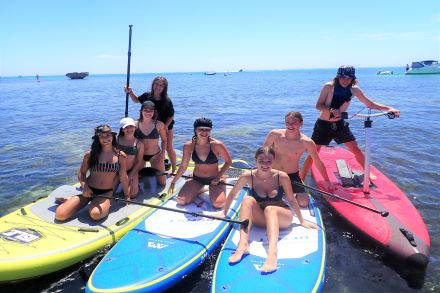 Group on paddle boards and pedal boards from Aquaplay Rottnest