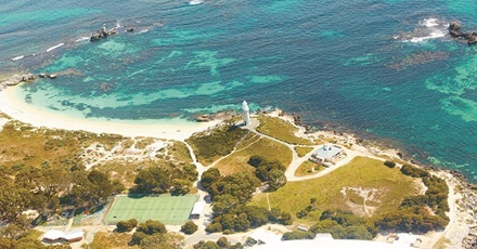 Aerial shot of Rottnest Island at Bathurst Point