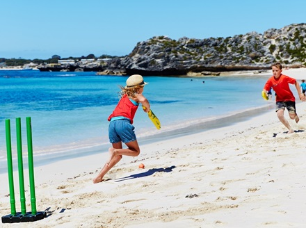 Beach cricket on Rottnest Island