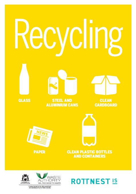 Yellow Recycling graphic poster showing items for recycling